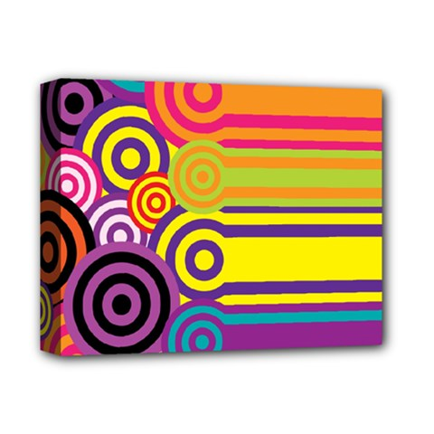 Retro Circles And Stripes Colorful 60s And 70s Style Circles And Stripes Background Deluxe Canvas 14  x 11