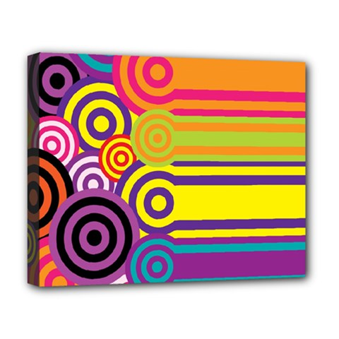 Retro Circles And Stripes Colorful 60s And 70s Style Circles And Stripes Background Deluxe Canvas 20  x 16