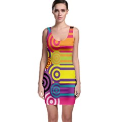 Retro Circles And Stripes Colorful 60s And 70s Style Circles And Stripes Background Sleeveless Bodycon Dress