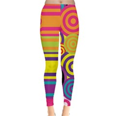 Retro Circles And Stripes Colorful 60s And 70s Style Circles And Stripes Background Leggings