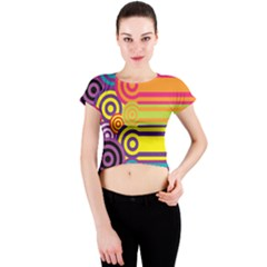 Retro Circles And Stripes Colorful 60s And 70s Style Circles And Stripes Background Crew Neck Crop Top