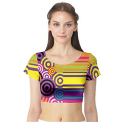 Retro Circles And Stripes Colorful 60s And 70s Style Circles And Stripes Background Short Sleeve Crop Top (tight Fit)