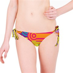 Retro Circles And Stripes Colorful 60s And 70s Style Circles And Stripes Background Bikini Bottom