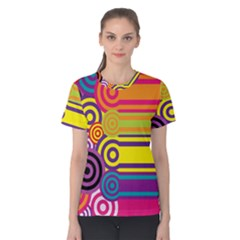 Retro Circles And Stripes Colorful 60s And 70s Style Circles And Stripes Background Women s Cotton Tee