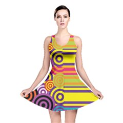Retro Circles And Stripes Colorful 60s And 70s Style Circles And Stripes Background Reversible Skater Dress