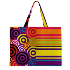Retro Circles And Stripes Colorful 60s And 70s Style Circles And Stripes Background Mini Tote Bag