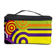 Retro Circles And Stripes Colorful 60s And 70s Style Circles And Stripes Background Cosmetic Storage Case
