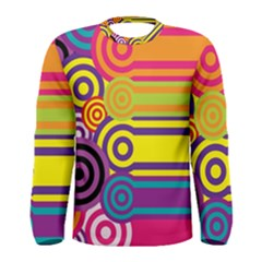 Retro Circles And Stripes Colorful 60s And 70s Style Circles And Stripes Background Men s Long Sleeve Tee