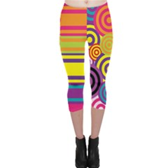 Retro Circles And Stripes Colorful 60s And 70s Style Circles And Stripes Background Capri Leggings