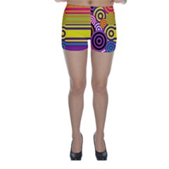 Retro Circles And Stripes Colorful 60s And 70s Style Circles And Stripes Background Skinny Shorts