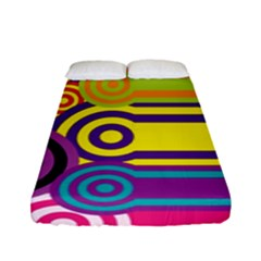 Retro Circles And Stripes Colorful 60s And 70s Style Circles And Stripes Background Fitted Sheet (full/ Double Size)