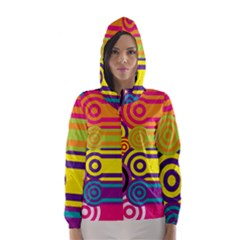 Retro Circles And Stripes Colorful 60s And 70s Style Circles And Stripes Background Hooded Wind Breaker (Women)