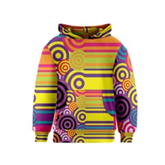 Retro Circles And Stripes Colorful 60s And 70s Style Circles And Stripes Background Kids  Pullover Hoodie