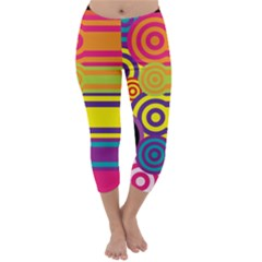 Retro Circles And Stripes Colorful 60s And 70s Style Circles And Stripes Background Capri Winter Leggings