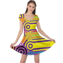 Retro Circles And Stripes Colorful 60s And 70s Style Circles And Stripes Background Cap Sleeve Dresses