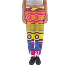 Retro Circles And Stripes Colorful 60s And 70s Style Circles And Stripes Background Women s Jogger Sweatpants