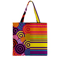 Retro Circles And Stripes Colorful 60s And 70s Style Circles And Stripes Background Zipper Grocery Tote Bag