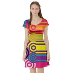 Retro Circles And Stripes Colorful 60s And 70s Style Circles And Stripes Background Short Sleeve Skater Dress