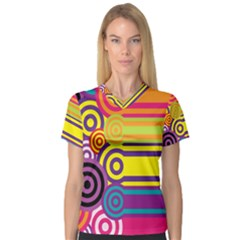 Retro Circles And Stripes Colorful 60s And 70s Style Circles And Stripes Background Women s V Neck Sport Mesh Tee