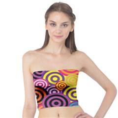 Retro Circles And Stripes Colorful 60s And 70s Style Circles And Stripes Background Tube Top