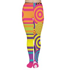Retro Circles And Stripes Colorful 60s And 70s Style Circles And Stripes Background Women s Tights
