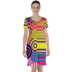 Retro Circles And Stripes Colorful 60s And 70s Style Circles And Stripes Background Short Sleeve Nightdress