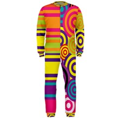 Retro Circles And Stripes Colorful 60s And 70s Style Circles And Stripes Background Onepiece Jumpsuit (men)