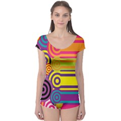 Retro Circles And Stripes Colorful 60s And 70s Style Circles And Stripes Background Boyleg Leotard