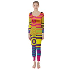 Retro Circles And Stripes Colorful 60s And 70s Style Circles And Stripes Background Long Sleeve Catsuit