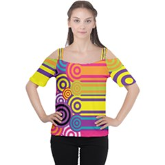 Retro Circles And Stripes Colorful 60s And 70s Style Circles And Stripes Background Women s Cutout Shoulder Tee