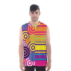 Retro Circles And Stripes Colorful 60s And 70s Style Circles And Stripes Background Men s Basketball Tank Top