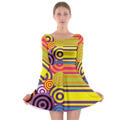 Retro Circles And Stripes Colorful 60s And 70s Style Circles And Stripes Background Long Sleeve Skater Dress