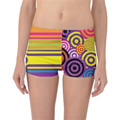 Retro Circles And Stripes Colorful 60s And 70s Style Circles And Stripes Background Boyleg Bikini Bottoms