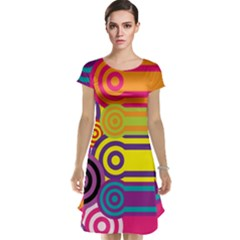 Retro Circles And Stripes Colorful 60s And 70s Style Circles And Stripes Background Cap Sleeve Nightdress