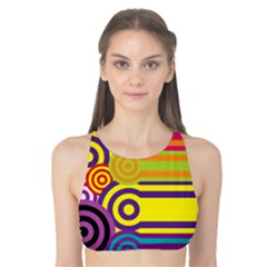 Retro Circles And Stripes Colorful 60s And 70s Style Circles And Stripes Background Tank Bikini Top