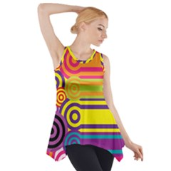 Retro Circles And Stripes Colorful 60s And 70s Style Circles And Stripes Background Side Drop Tank Tunic