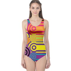 Retro Circles And Stripes Colorful 60s And 70s Style Circles And Stripes Background One Piece Swimsuit