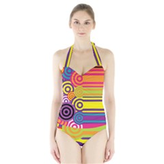 Retro Circles And Stripes Colorful 60s And 70s Style Circles And Stripes Background Halter Swimsuit