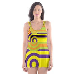 Retro Circles And Stripes Colorful 60s And 70s Style Circles And Stripes Background Skater Dress Swimsuit