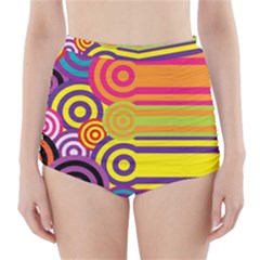 Retro Circles And Stripes Colorful 60s And 70s Style Circles And Stripes Background High Waisted Bikini Bottoms