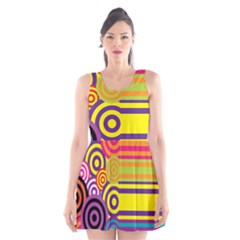 Retro Circles And Stripes Colorful 60s And 70s Style Circles And Stripes Background Scoop Neck Skater Dress