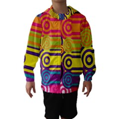 Retro Circles And Stripes Colorful 60s And 70s Style Circles And Stripes Background Hooded Wind Breaker (kids)