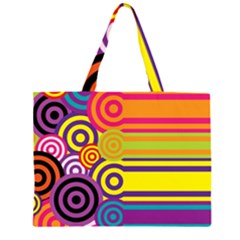 Retro Circles And Stripes Colorful 60s And 70s Style Circles And Stripes Background Large Tote Bag
