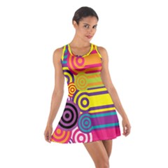 Retro Circles And Stripes Colorful 60s And 70s Style Circles And Stripes Background Cotton Racerback Dress