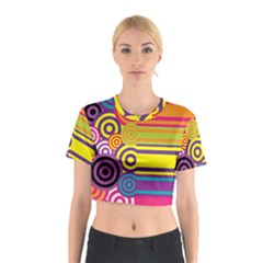 Retro Circles And Stripes Colorful 60s And 70s Style Circles And Stripes Background Cotton Crop Top