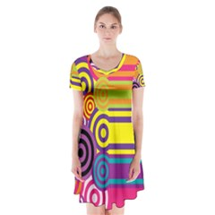 Retro Circles And Stripes Colorful 60s And 70s Style Circles And Stripes Background Short Sleeve V Neck Flare Dress