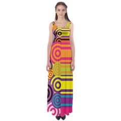 Retro Circles And Stripes Colorful 60s And 70s Style Circles And Stripes Background Empire Waist Maxi Dress