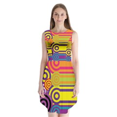 Retro Circles And Stripes Colorful 60s And 70s Style Circles And Stripes Background Sleeveless Chiffon Dress