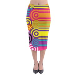 Retro Circles And Stripes Colorful 60s And 70s Style Circles And Stripes Background Midi Pencil Skirt