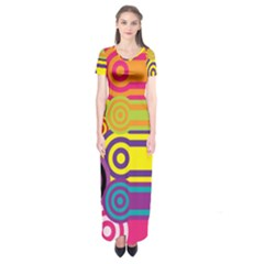 Retro Circles And Stripes Colorful 60s And 70s Style Circles And Stripes Background Short Sleeve Maxi Dress